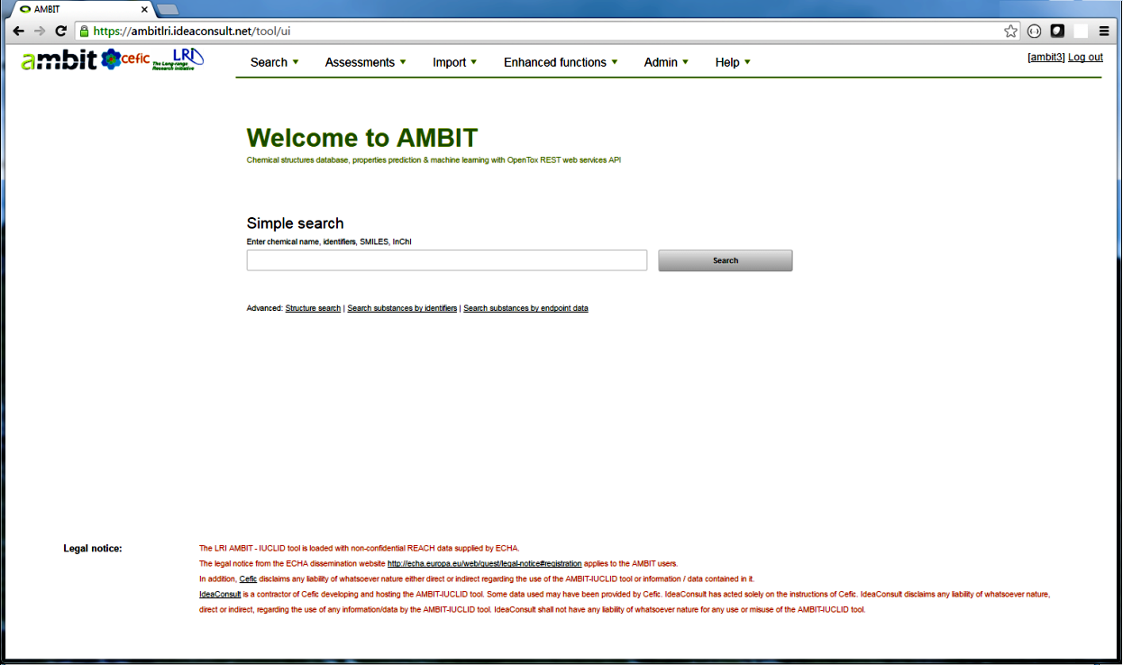 AMBIT LRI tool loaded with REACH data